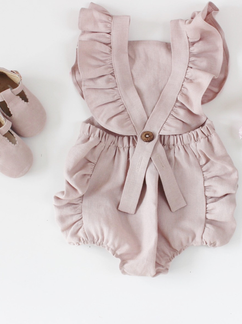 Handmade Baby Clothes Boho Linen Ruffled Baby Romper