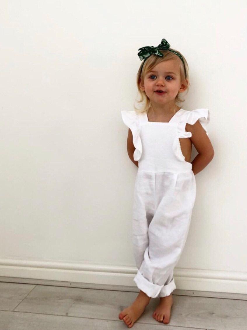 Handmade Baby Kids Clothes Boho Linen Pure White Romper