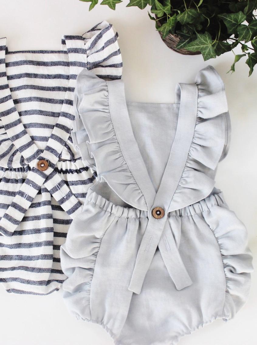 Handmade Striped Boho Linen Baby Romper