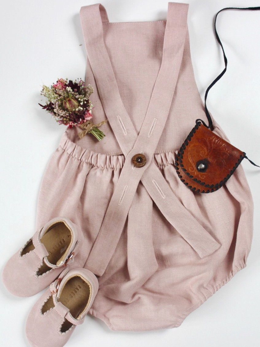 Handmade Baby Clothes Boho Linen Dusty Pink Baby Romper