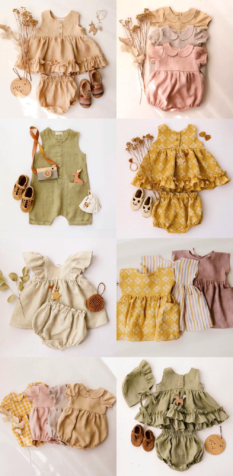 Handmade Linen Baby Kids Clothes Handmade Linen Romper Baby Dress Bloomers Unisex