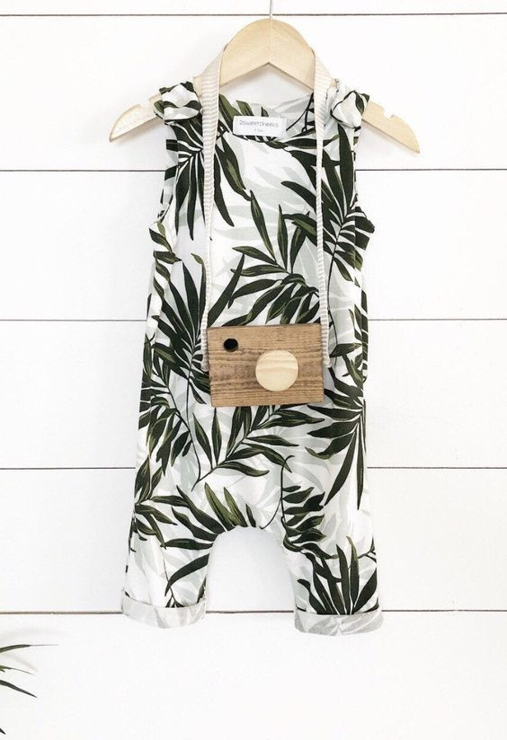 Baby tropical summer unisex baby girl baby boy handmade romper  leaf pattern nature baby clothes