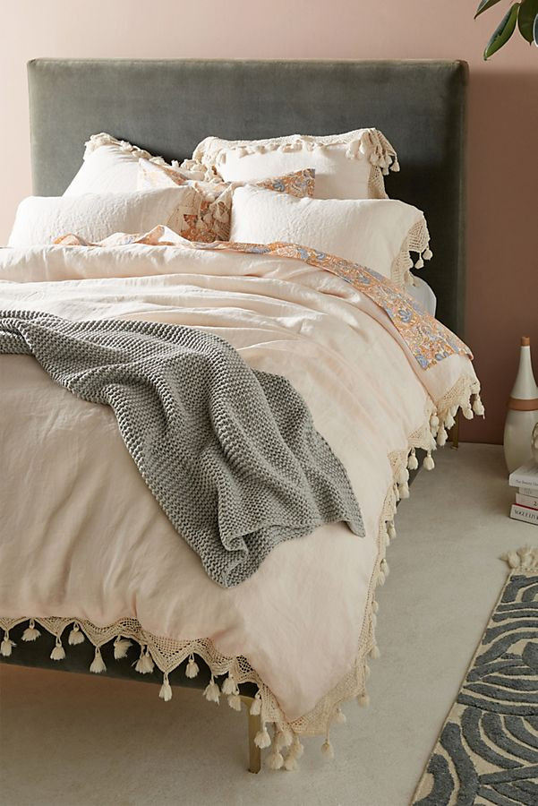 Blush Tasseled Linen Duvet Cover | Anthropologie