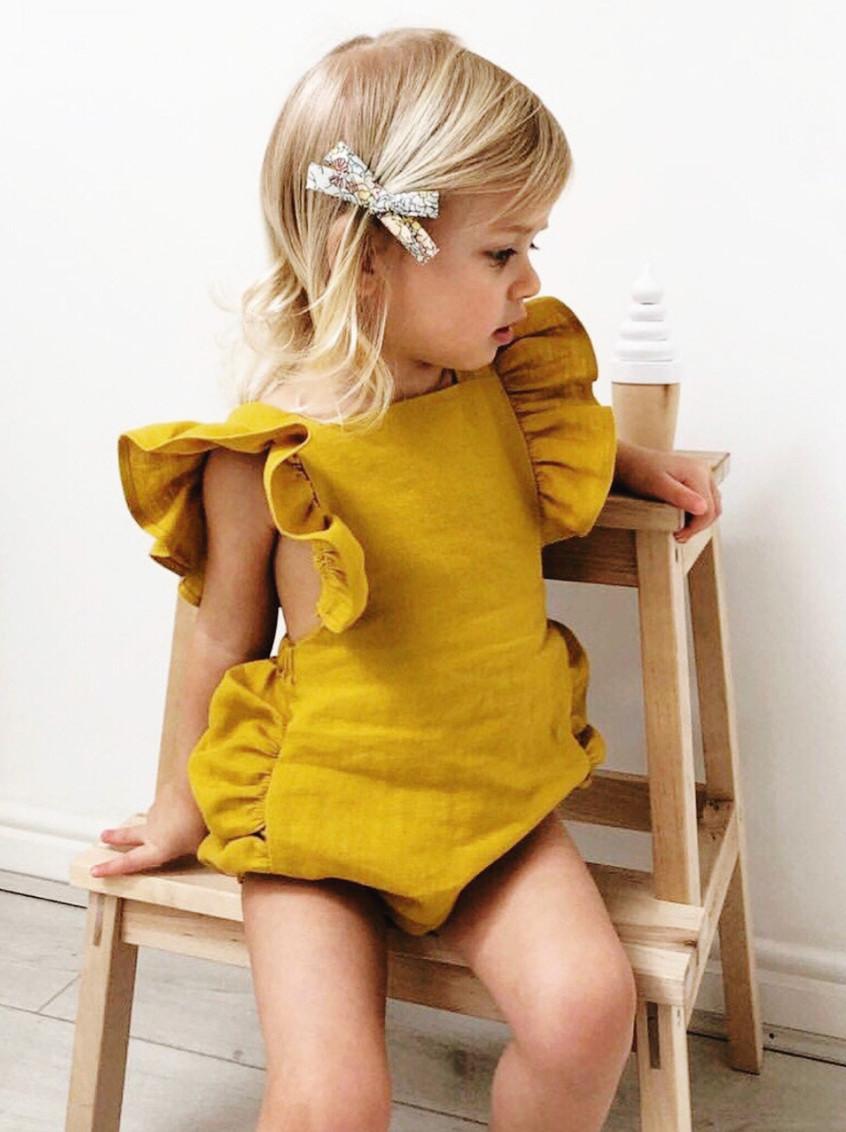 Handmade Kids Clothes Girls Boho Linen Baby Toddler Romper