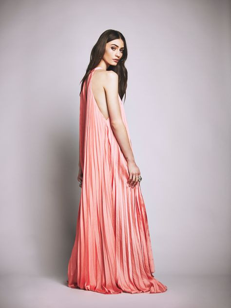 pleated boho maxi dress