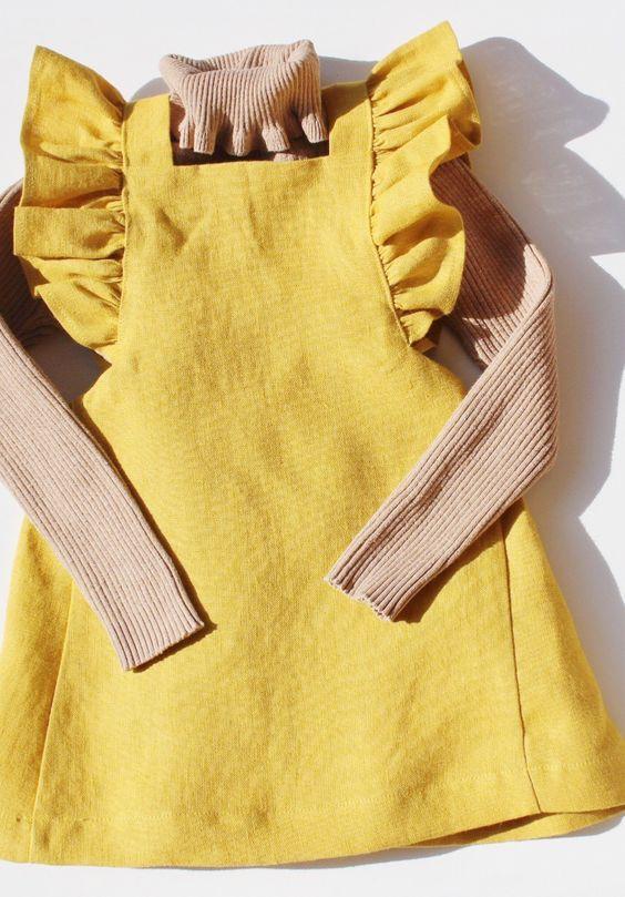 Handmade Boho Linen Ruffle Baby Dress