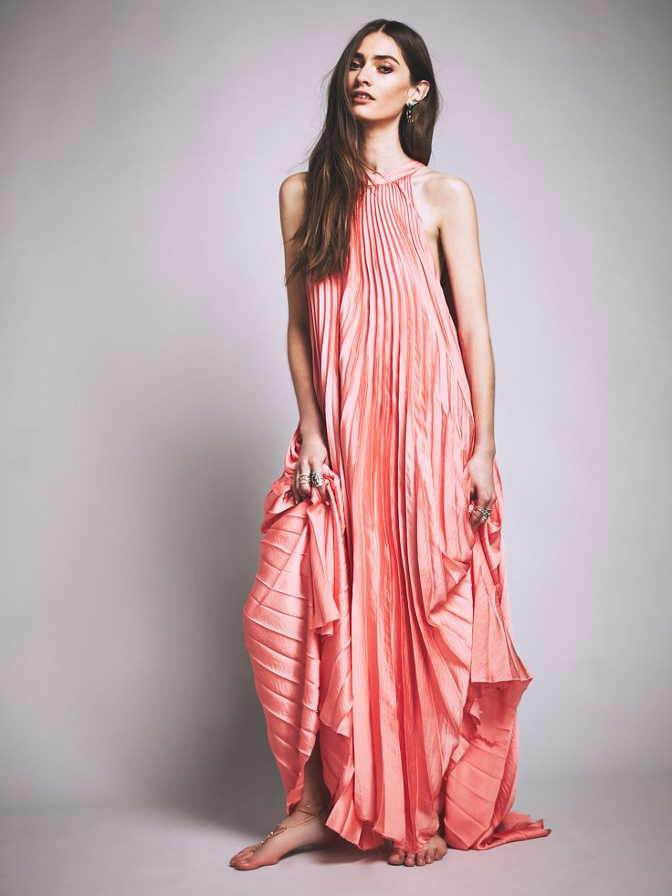 pleated boho maxi dress pink