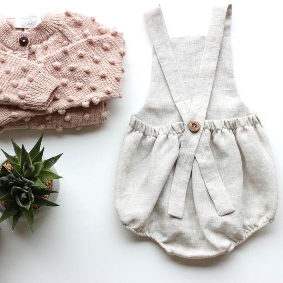 Handmade Boho Linen Baby Romper