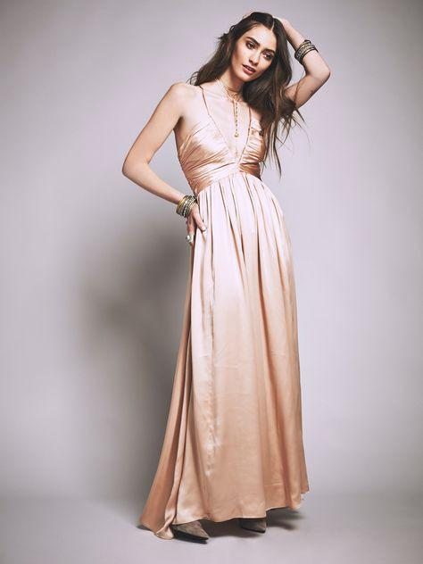 blush silk maxi dress