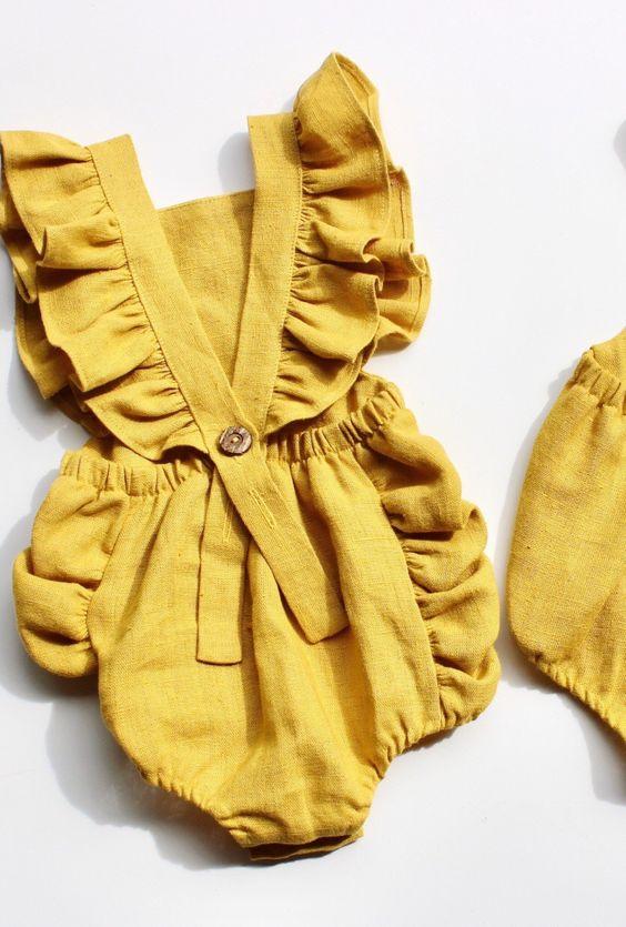 Handmade Boho Linen Ruffle Baby Romper