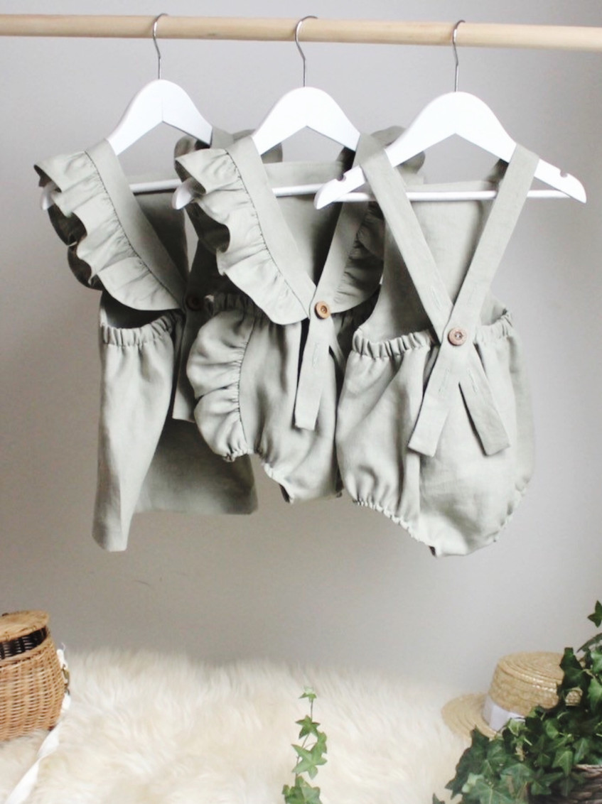 Handmade Baby Clothes Boho Linen Baby Rompers & Dresses