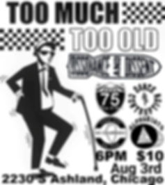 Too Much Too Old concert poster. Ska, ska-punk, punk show. From The Grave Presents: Dissonance & Dissent, 75 Days of Sun, Dance Contraption, No Comprendo, AlphaB3ats. At The Fallout, Chicago, IL.