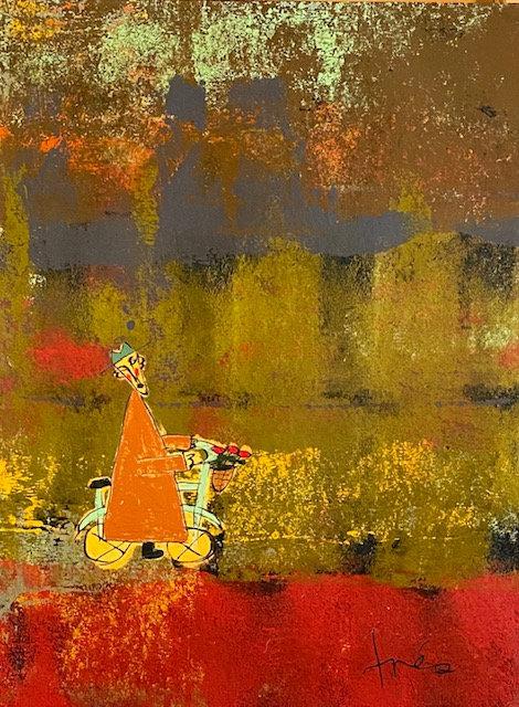"Orange Bicycle Monk, 27"" x 36"""