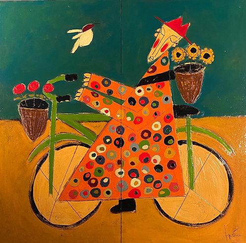 "Orange Bicycle Monk, 58' x 58"""