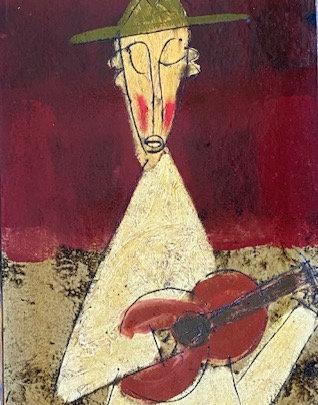 """Guitar Monk, Musical Monks series, 18"""" x 36"""", unframed"""