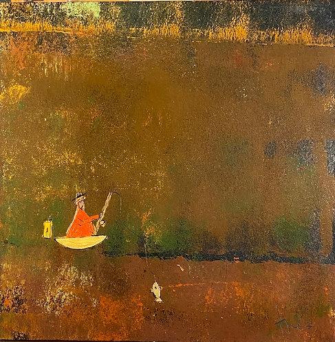 """Orange Fishing Monk, 36"""" x 36"""""""