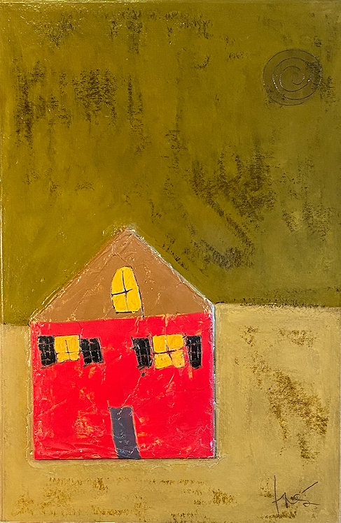 """Red Home, 29"""" x 45"""""""