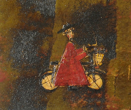 """Bicycle Monk in Red Robe, 29"""" x 58"""""""