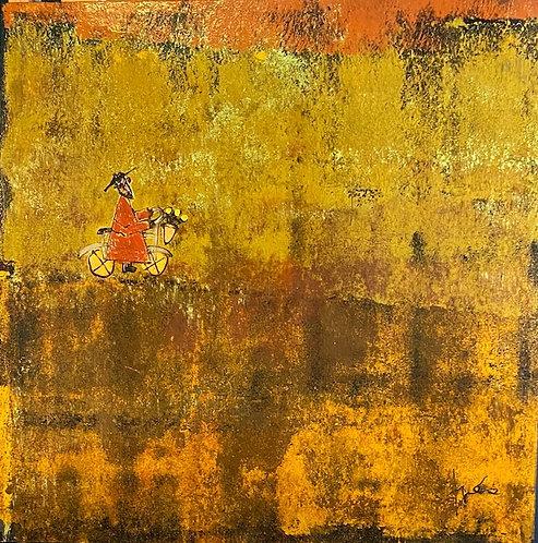 "Orange Bicycle Monk, 36"" x 36"""