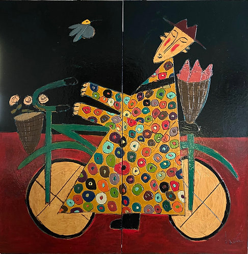 """Bicycle Monk with a Basket Full of Salmon, 58"""" x 58"""""""