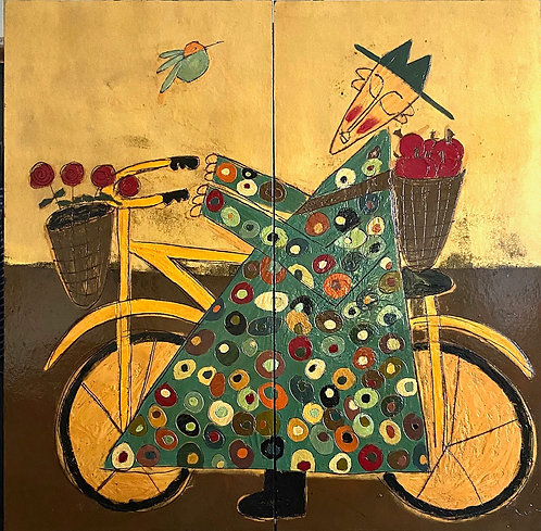 """Bicycle Monk with Apples, 58"""" x 58"""""""