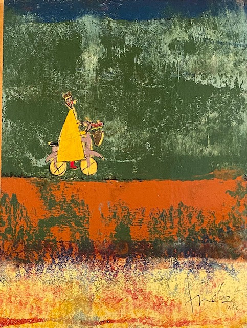 "Yellow Bicycle Monk, 27"" x 36"""
