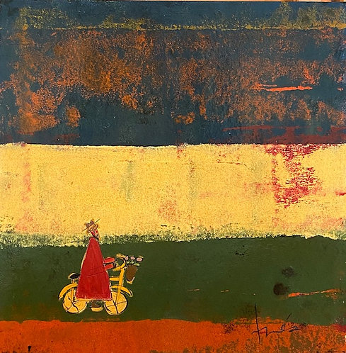 """Red Bicycle Monk with Basket of Flowers, 36"""" x 36"""""""