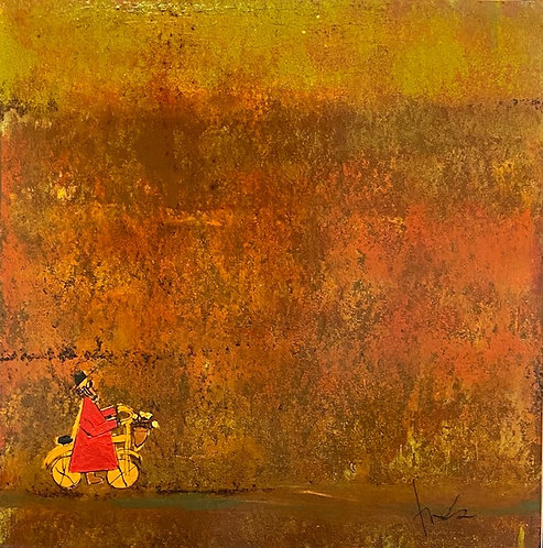 """Red Bicycle Monk,  36"""" x 36"""""""