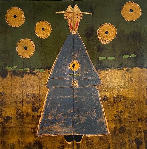 """Sunflower Monk is Blue Robe, 58"""" x 58"""""""