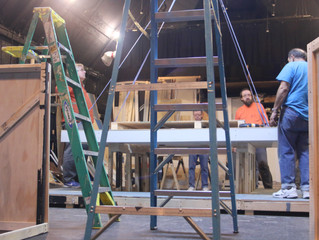 Coffee, donuts, electric drills, ladders - it's Saturday at the theater...
