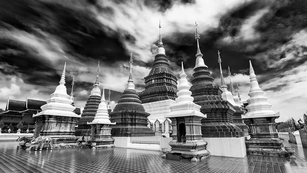 """Thailand Chiang Mai Temple """"Wat Ban Den"""" """"noir et blanc"""" """"black and white"""" monochrome"""