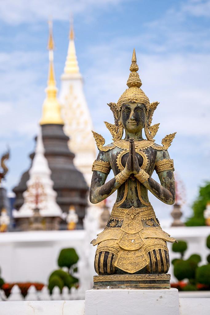 "Thailand Chiang Mai Temple ""Wat Ban Den"" statue stupa"