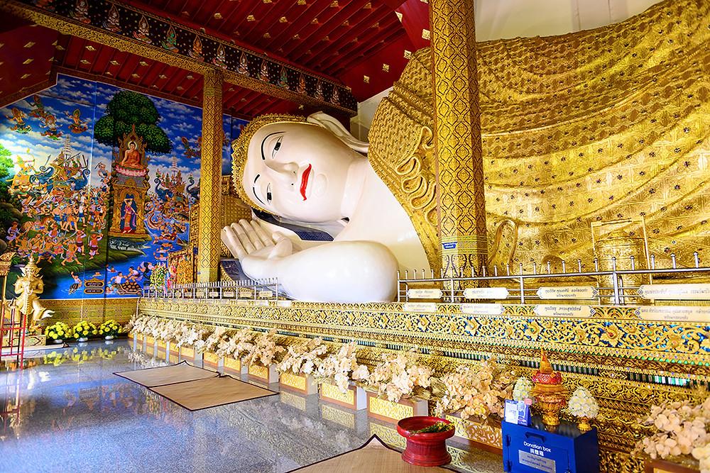 "Thailand Chiang Mai Temple ""Wat Ban Den"" statue ""reclining buddha"""""