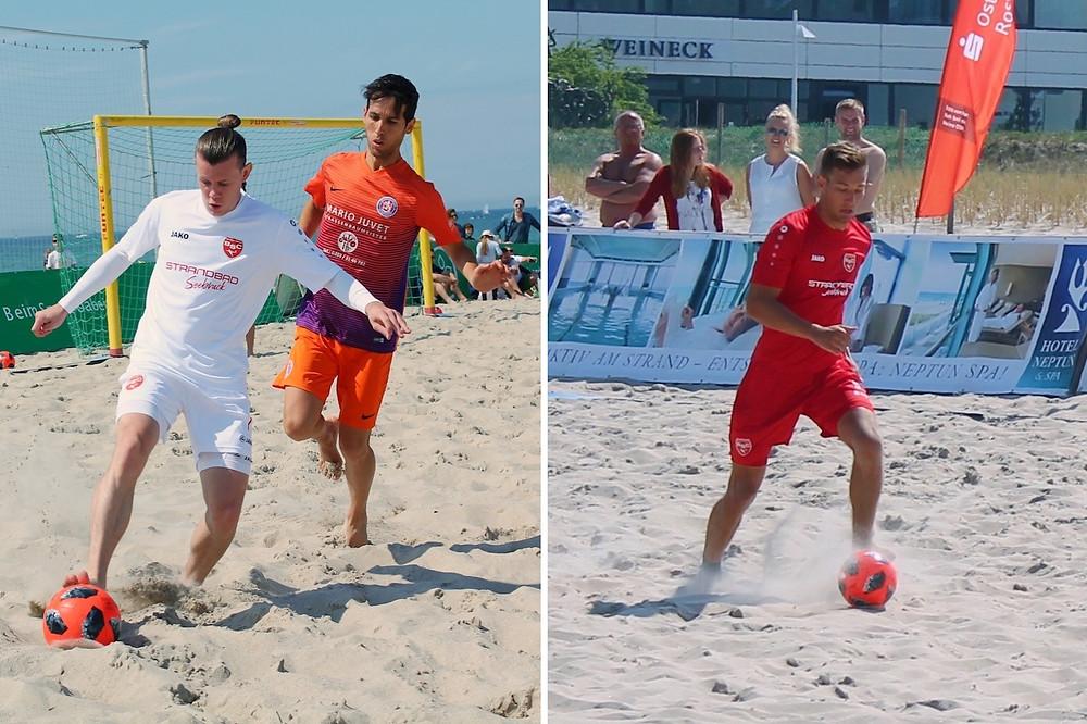 Manuel Kraus (li.) und Tim Vetter (re.) wurden von Nationaltrainer Matteo Marrucci zu einem Lehrgang der Beachsoccer-Nationalmannschaft nominiert.