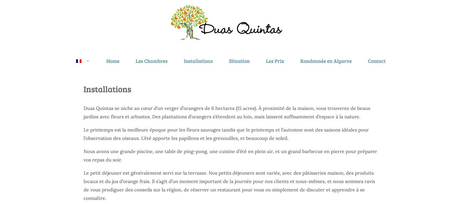 Translations English-French for Duas Quintas