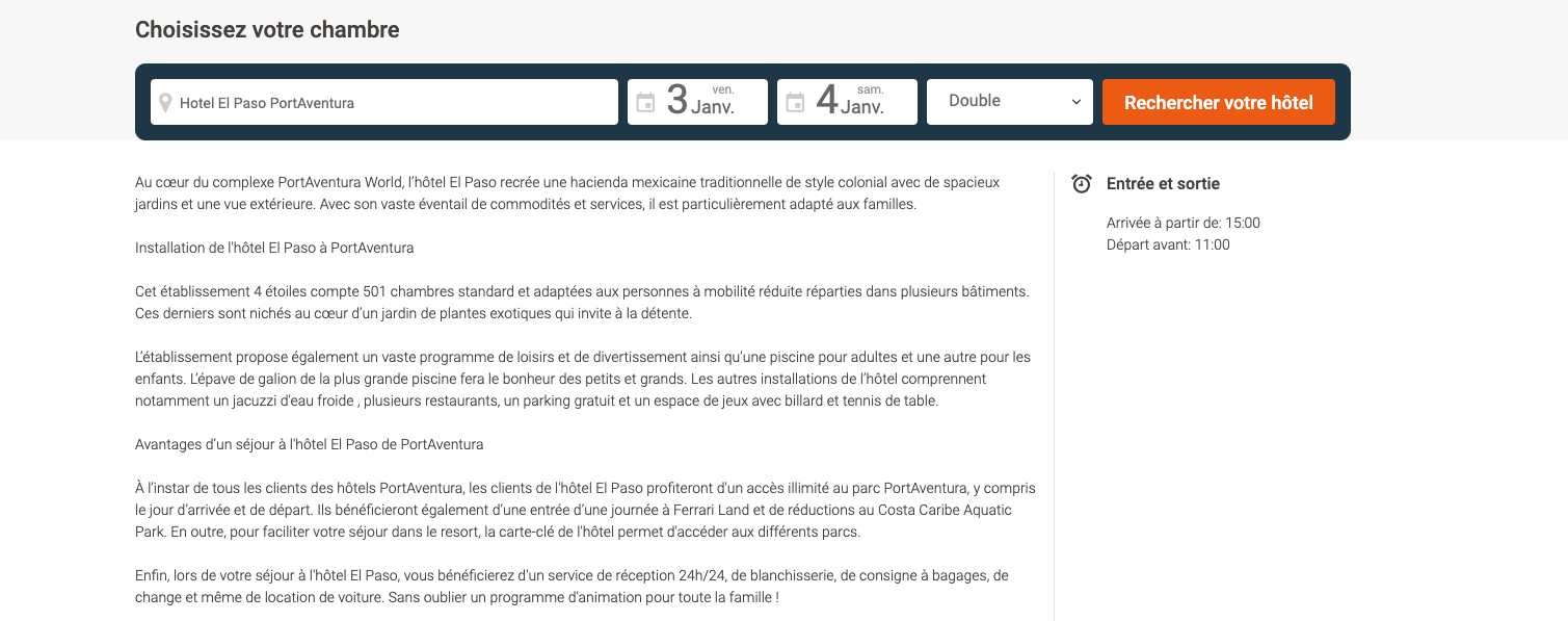 Translations Spanish-French for Destinia