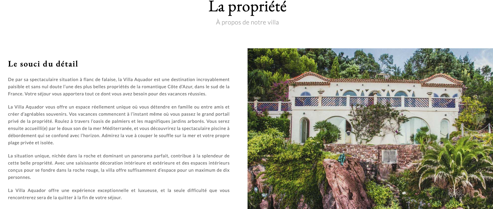 Translations English-French for Villa Aquador
