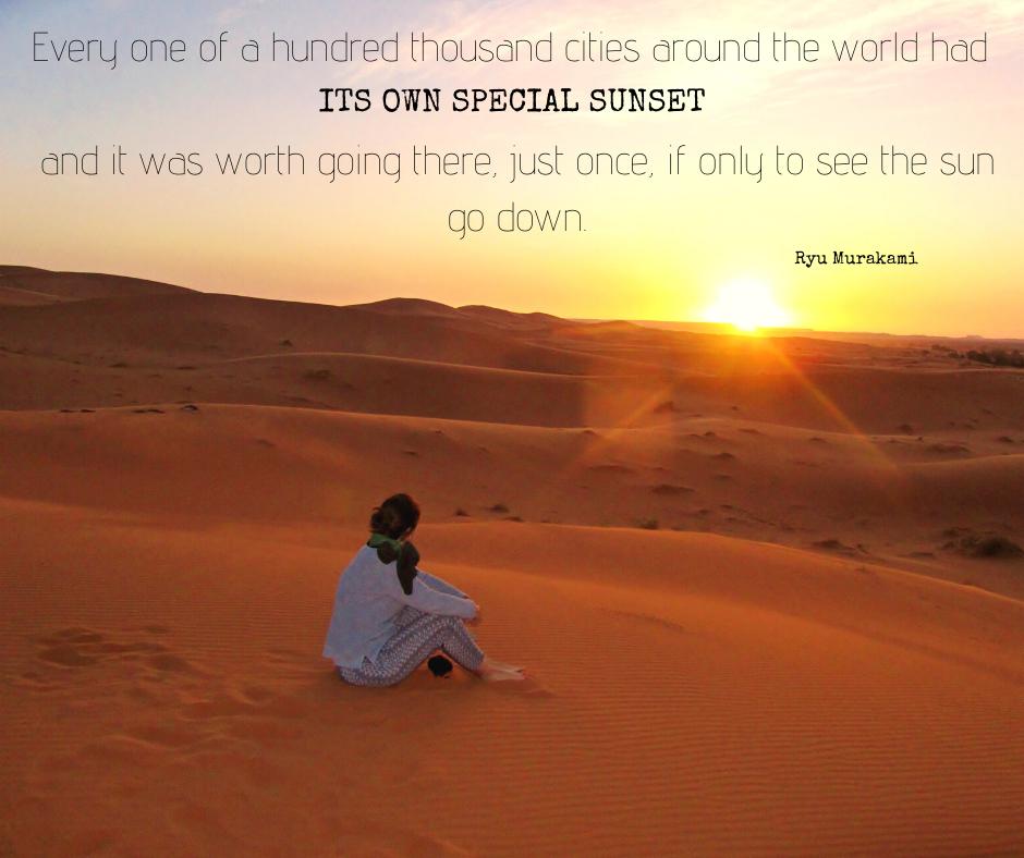 Coucher de soleil dans le Sahara