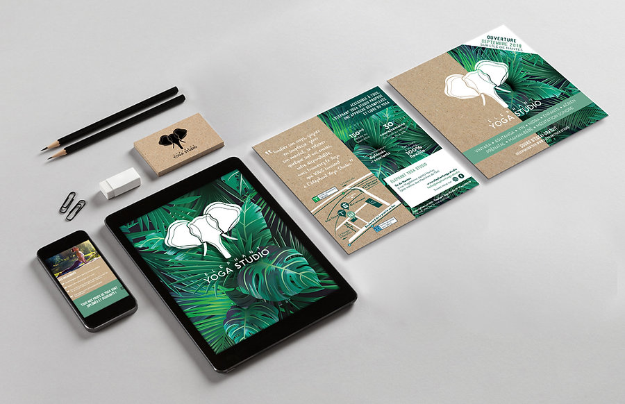 mockup identité graphique elephant yoga studio