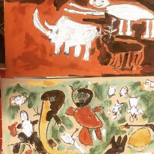 Zelf verf maken en grotschilderingen maken met groep 3, 4 & 5