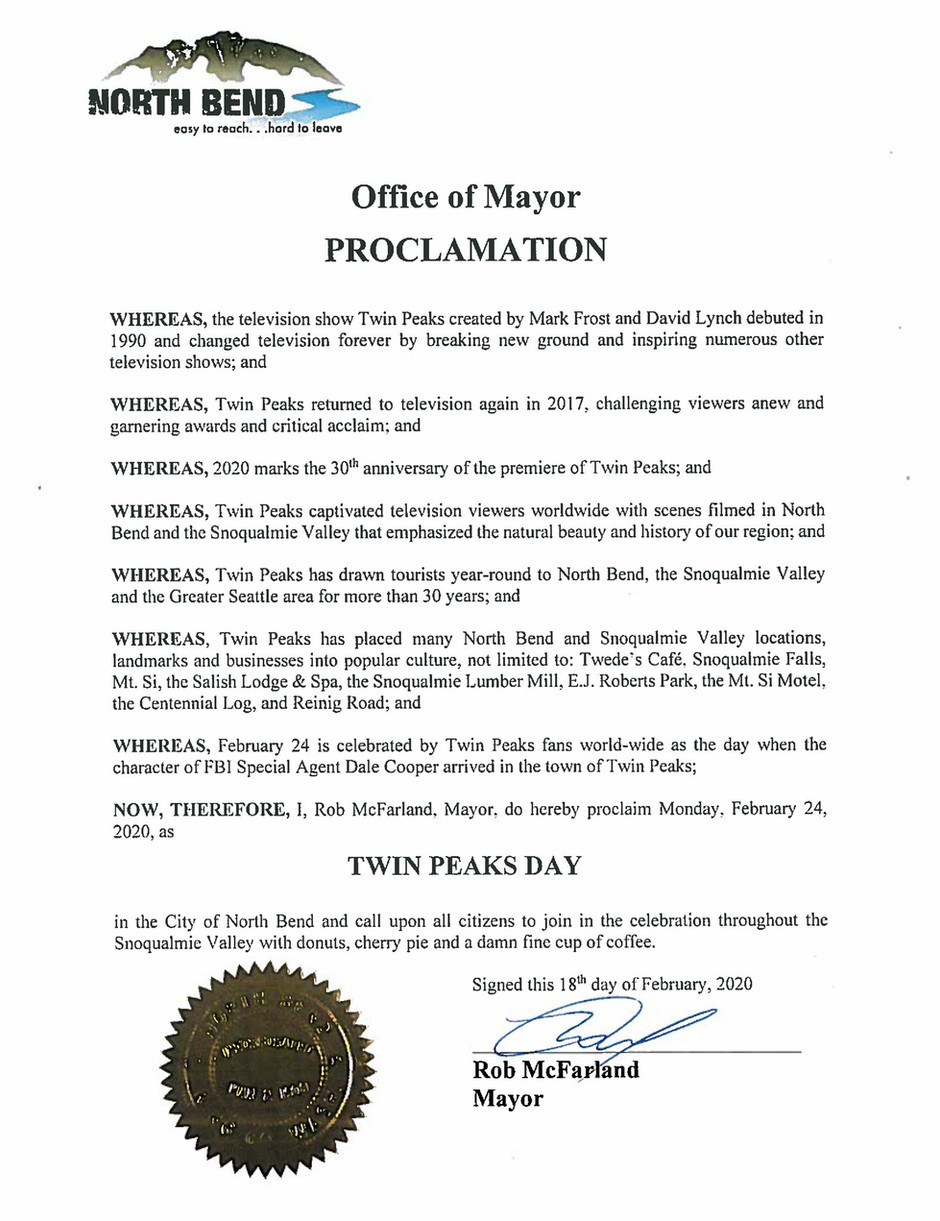 City of North Bend, WA officially recognizes Twin Peaks Day for 2020