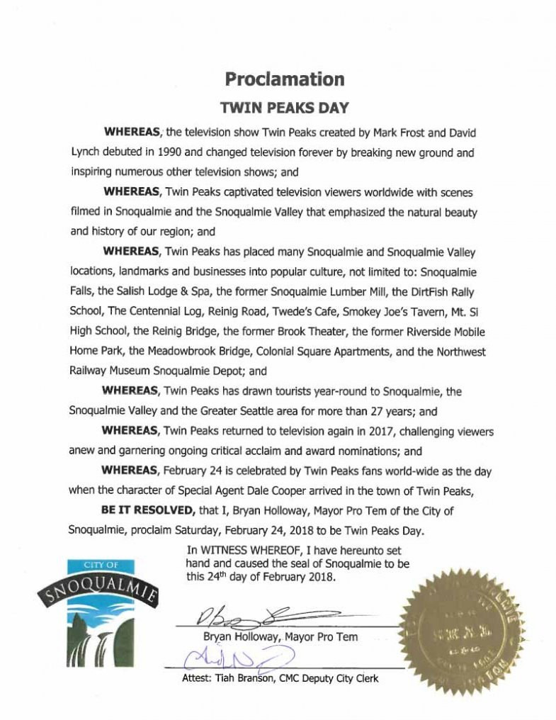 City of Snoqualmie, WA officially recognizes Twin Peaks Day