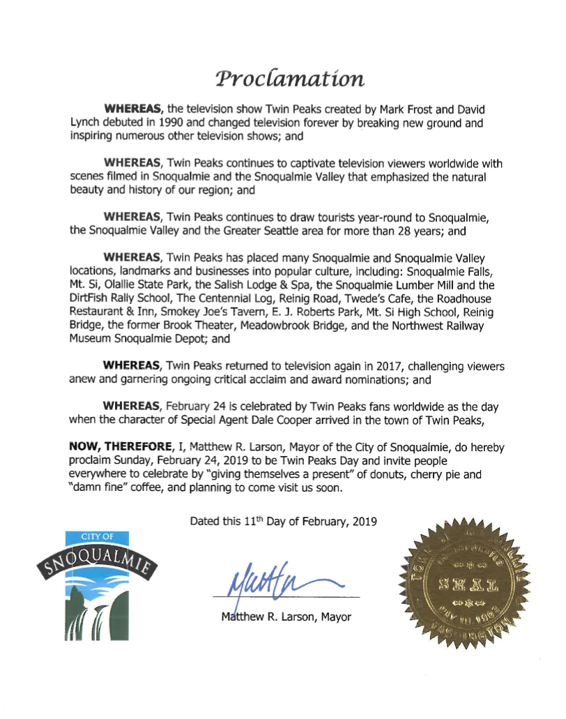 City of Snoqualmie, WA officially recognizes Twin Peaks Day for 2019