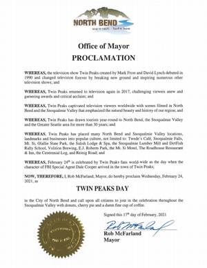 City of North Bend, WA officially recognizes Twin Peaks Day for 2021