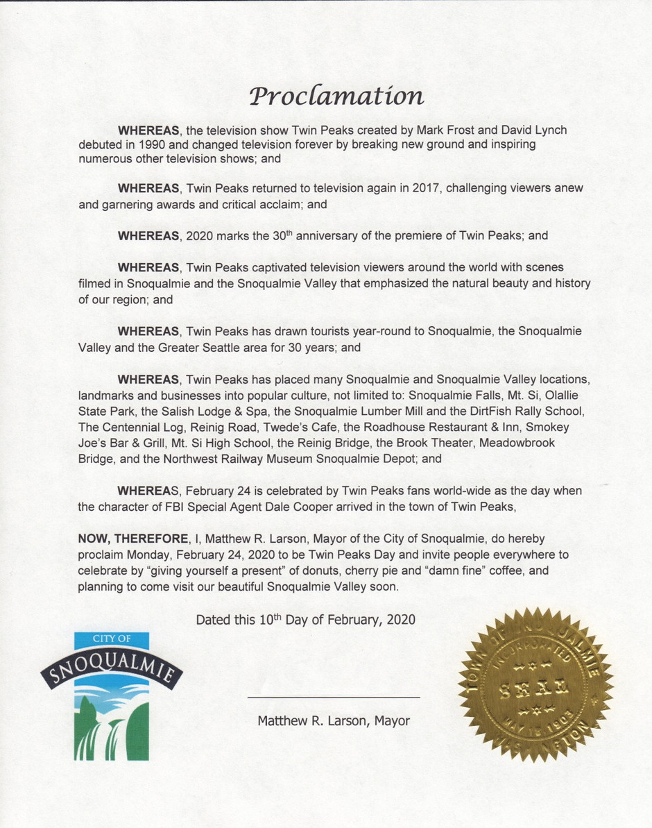City of Snoqualmie, WA officially recognizes Twin Peaks Day for 2020
