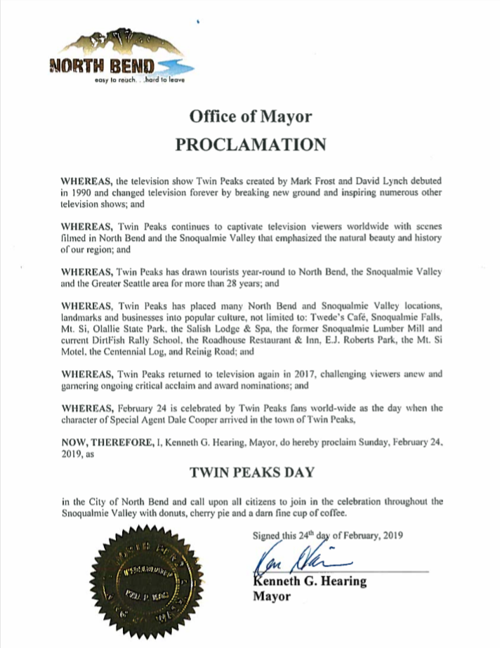 City of North Bend, WA officially recognizes Twin Peaks Day for 2019