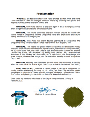 City of Snoqualmie, WA officially recognizes Twin Peaks Day for 2021