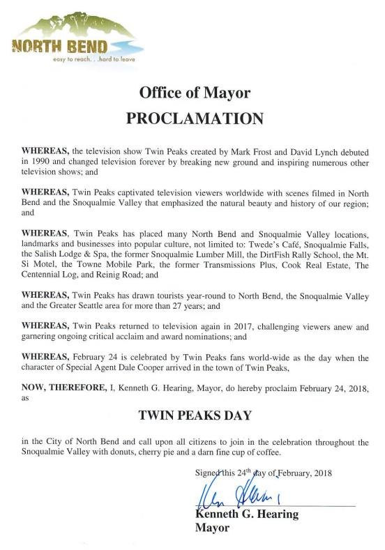 City of North Bend, WA officially recognizes Twin Peaks Day