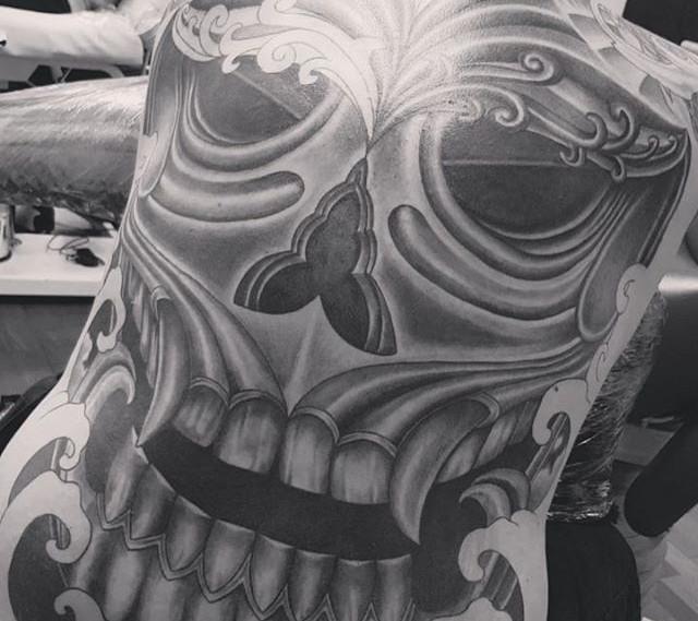 Japanese Han Mask inspired Skull mask