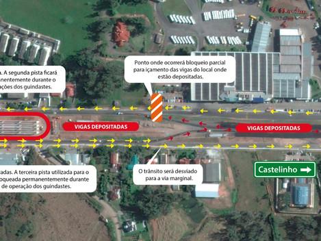 DNIT/RS altera trânsito para içamento de vigas no viaduto da Duque de Caxias